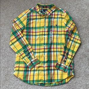 NWT Boys Ralph Lauren yellow plaid shirt xl